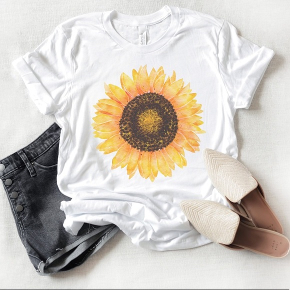 Sunflower Floral Graphic Tee Sz M